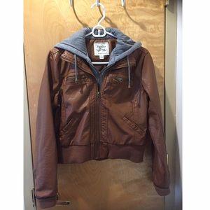 Maralyn & Me Jackets & Blazers - Maralyn & me faux leather jacket with hoodie