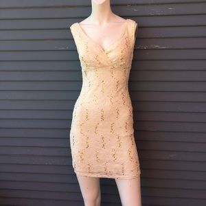 Ruby Rox Dresses & Skirts - Gorgeous white lace dress with gold sequences