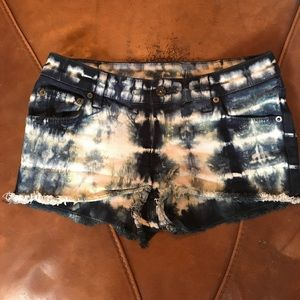 Carmar Pants - Carmar Tie-Dyed Cutoff Denim Shorts