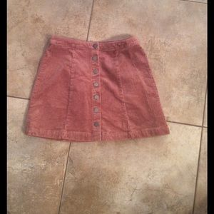 Pink corduroy button up skirt