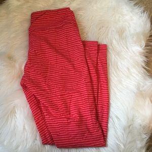LuLaRoe Pants - LulaRoe Valentine Hidden Hearts Striped Leggings