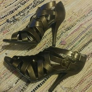 Delicious Shoes - Delicious Bronze Strappy Sandal Heels