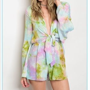 Love Riche Pants - Plunging neckline long sleeve tie up/tiedye romper