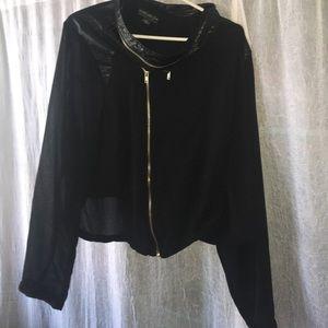 Plus size sheer sleeve jacket.