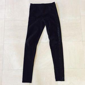 Forever 21 Black Leggings with Sequin Stripe