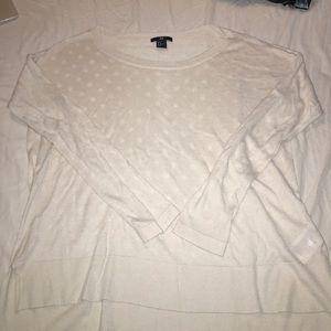 H&M White Polka Dot Thin Sweater