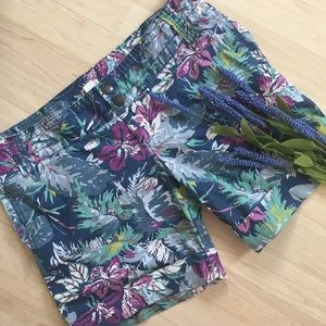 Mossimo Supply Co. Pants - Blue and lavender floral Hawaiian cuffed shorts