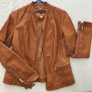 Black Rivet Jackets & Blazers - Brown leather jacket