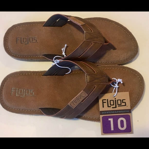 a6127c4e9277 NEW Flojos Men 10 Sandal Flip Flop Cognac Brown