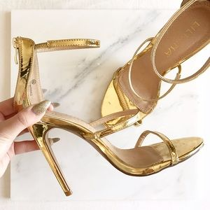 Liliana Shoes - gold strappy heels