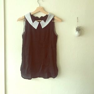 ROMWE Tops - Girly Black and White Collar Top *Brand new