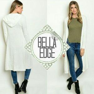 Bella Edge Sweaters - White fuzzy knit hooded open duster cardigan