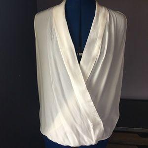 Liu Jo Tops - White Silk Sleveles Wrap Blouse