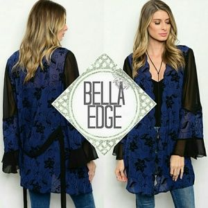 Bella Edge Sweaters - 🆕 Navy black chiffon floral bell sleeve cardigan
