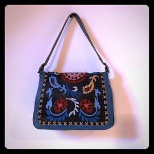 Isabella Fiore Handbags - ISABELLA FIORE purse blue embroidered leather