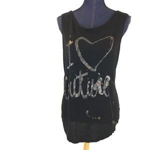 JUICY COUTURE XL Open Back Tank Top Black Tunic