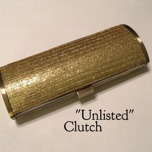 Unlisted Handbags - Gold Clutch with removable chain shoulder strap