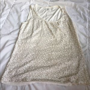 Caslon Tops - cute gold sequins tank top size M