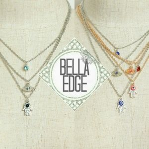 Bella Edge Jewelry - Evil eye hamsa protection gemstone layer necklace