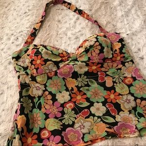 Muse Tops - Muse Silk Floral Halter Top w/Built-in Bra in Sz2