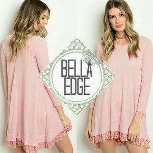 Bella Edge Dresses & Skirts - 🆕 Dusty pink lace ruffle hem jersey dress