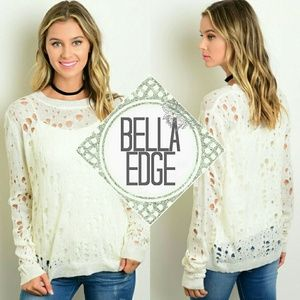 Bella Edge Sweaters - 🆕 Off white distressed scoopneck overlay sweater