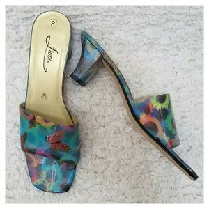 FIONI Clothing Shoes - Fioni Floral/Butterfly Kitten Heel Hologram Slide