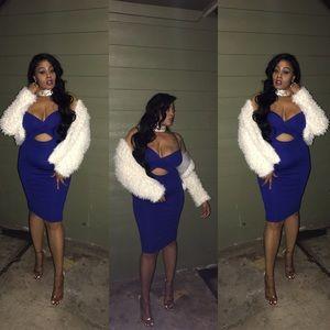 Blue midi dress sz L