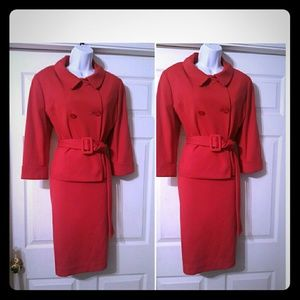 Larry Levine Other - Beautful Jackie O inspired red ponte knit suit