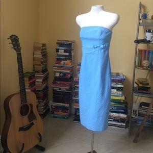 Express sky blue strapless fitted dress