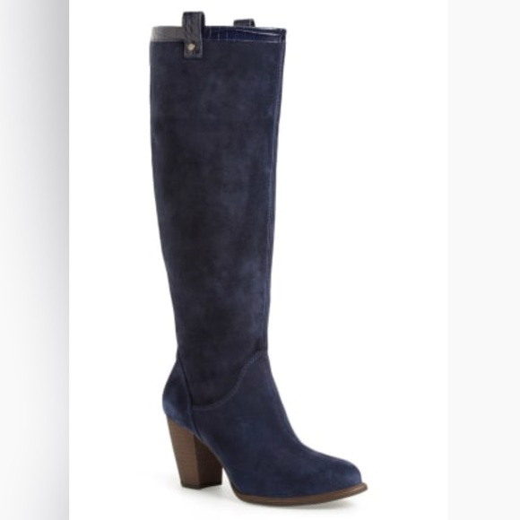 4c084f24d643 NEW UGG  Ava Croco  Tall Suede Blue Navy Boot Sz 6