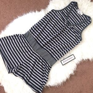 imaginary voyage Pants - Navy and Gray Striped Cotton Racerback Romper