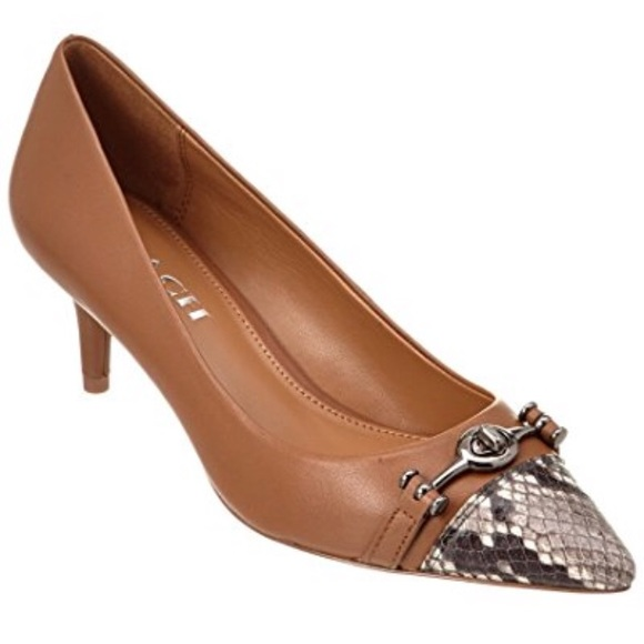 213b6bad531f Coach Lauri Silky Nappa Luxe Snake Saddle Pumps