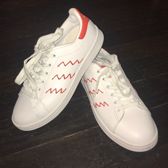 le adidas stan smith red zig - zag scarpe poshmark