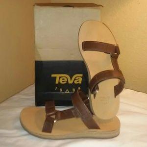 Teva Universal Slide Leather Brown Sandals size 7