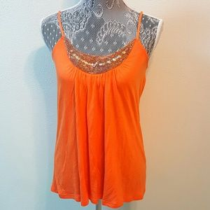 Candie's Tops - Candie's coral rose embellished tank top