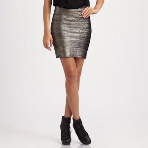 BCBGMaxazria Josie Gunmetal Combo Bodycon Skirt