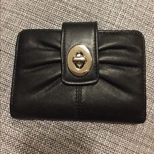 Coach Handbags - {Coach} Black Parker Pleated Turnlock Wallet