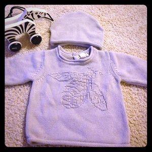 Burt's Bees Baby Other - Burts bees baby cotton sweater & beanie set, 6-9M