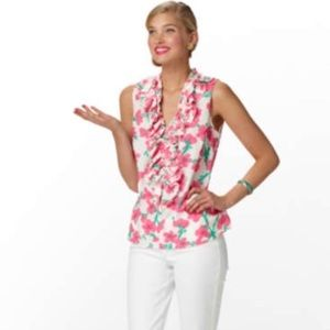 Lilly Pulitzer Tops - NWOT Lilly Pulitzer Allison Ruffle Floral Blouse