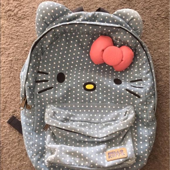loungefly Handbags - Loungefly hello kitty denim polka dot bow backpack a18c89938b
