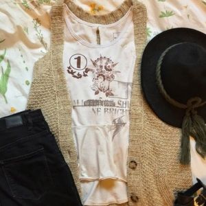 Free People Tops - Free People We the Free Distressed Graphic Peplum