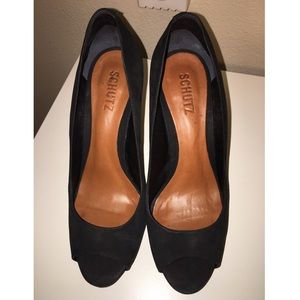 Schultz Shoes - Schultz Nubuck Leather Black Peep-Toe heels Sz 9