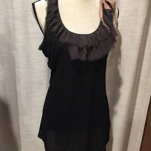 twelve by twelve Tops - Black tee with chiffon, top and pink bow on top