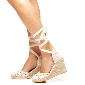 Soludos Shoes - Soludos TULIP LACE TALL WEDGE ESPADRILLE SANDAL