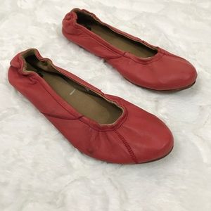 Sorel skimmer flat Coral red leather size 6