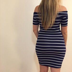 Dresses & Skirts - •LAST 2• Navy Striped Off The Shoulder Dress