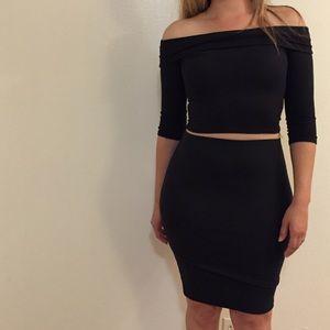 •new• Ribbed Off The Shoulder Top & Skirt Set