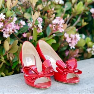 Valentino Shoes - Valentino Red D'orsay Bow Heels