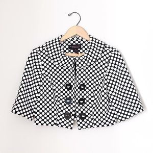 Robbie Bee Jackets & Blazers - Black and White Polka Dot Crop Jacket